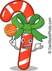 Candy Cane 4 - With basketball mascot candy cane in cartoon...