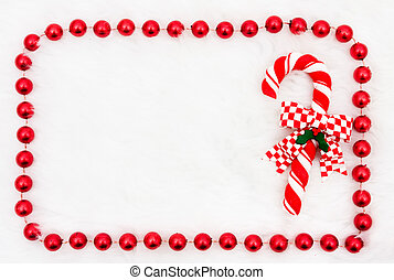 Candy Cane - A candy cane with a beaded border on a white...