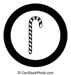 Candy cane black icon in circle vector illustration isolated