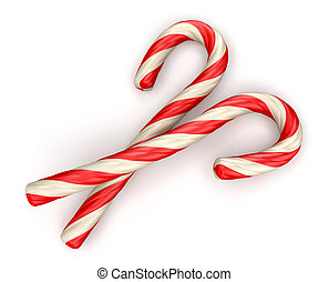 Candy cane isolated on white background. Image with clipping path