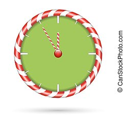 Candy cane clock isolated on white - Candy cane clock ...