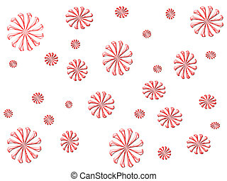 Candy Cane Design - Red and white candy cane swirls on white...