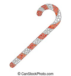 candy cane dot icon isolated on white background