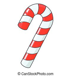 Candy cane for Christmas icon, cartoon style