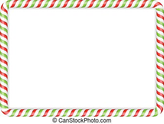 Candy Cane Frame - Frame made of candy cane, red and green...