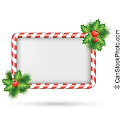 Candy cane frame with holly isolated on white