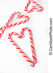 candy cane heart on white background