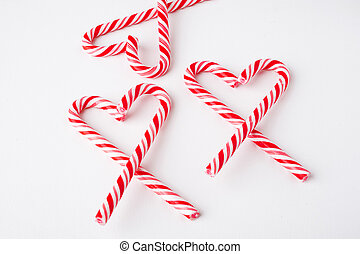 candy cane heart on white