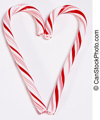 Candy Cane Heart - Candy cane heart on white background