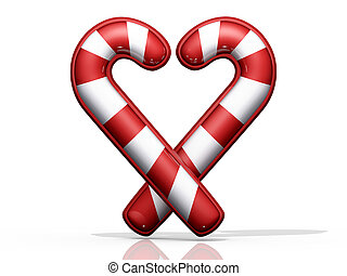 Candy Cane Heart - Two Candy crossed in a Heart shape on...