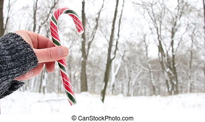 Candy cane in hand. Christmas landscape. - Male hand holding...