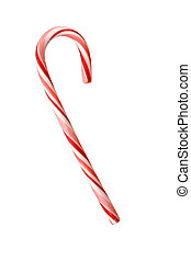 Candy Cane Isolated on White - Red and white striped candy...