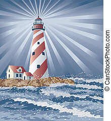 Candy Cane Lighthouse - Illustration of a swirly striped...