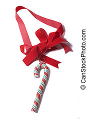 Candy Cane on Red Ribbon