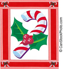 Candy cane - Red and white candy cane with holly and...