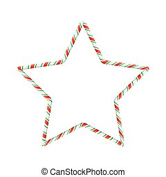 Candy cane star for christmas design isolated on white background