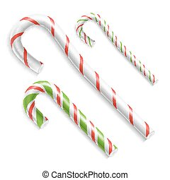Candy Cane Vector. Christmas Candy Cane. Realistic Set Isolated. Top View. Xmas Banner And New Year Design Concept Illustration