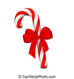 Candy cane with bow. 3d illustration isolated on white...