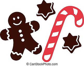 Candy cane with gingerbread man and cookies