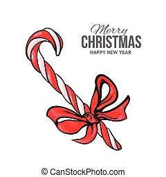 Candy cane with red bow, Christmas greeting card