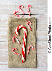 Candy Canes and Burlap Sack