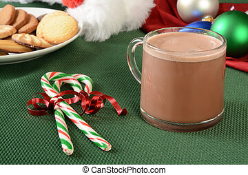 Candy canes and hot chocolate