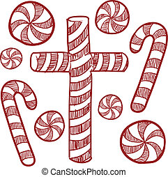 Candy canes and peppermints sketch