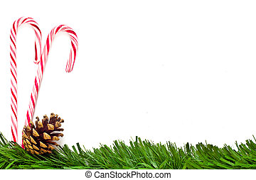 Christmas template with candy canes, pine cone and green border. This could be used as a menu or greeting card.