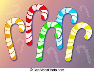 Colourful candy canes.