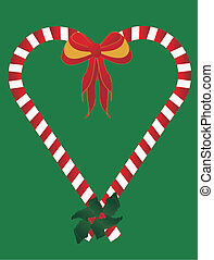 Candy canes heart.. - two candy canes adorned with a bow and...