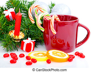 candy canes in red cup, Christmas background