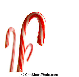 Candy canes on white