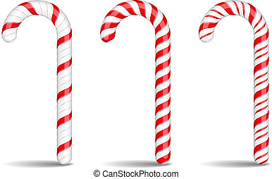 Candy Canes - Three candy canes on white background, vector ...