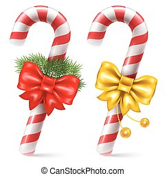 Candy canes with christmas decoration, winter holidays ...