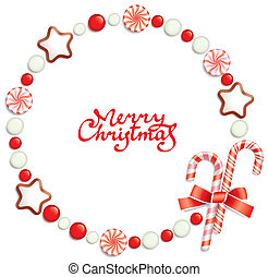 Candy christmas frame - Round christmas frame composed of...