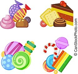 Candy collection concept. Colored and juicy lollipop biscuits chocolate and caramel sweets vector cartoon set