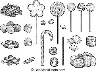Candy collection illustration, drawing, engraving, ink, line art, vector