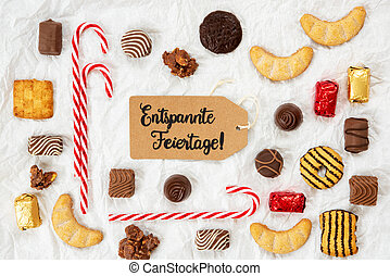 Candy Collection, Label, Entspannte Feiertage Means Merry Christmas