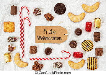 Candy Collection, Label, Frohe Weihnachten Means Merry Christmas