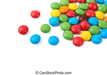 candy - colorful chocolate buttons on a white background