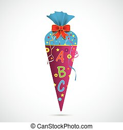 Candy Cone - Candy cone with ABC on the gray background.