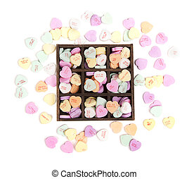 Candy conversation hearts  in a wooden box