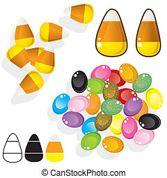 Candy corn and jellybeans vector