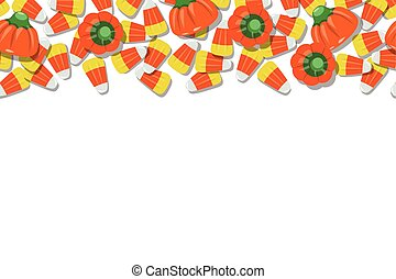 Candy Corn and Pumpkins Top Background Repeating Horizontal Vector Illustration