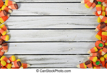 candy corn border on wood