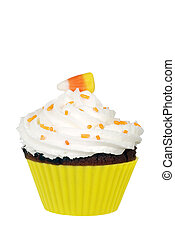 candy corn cupcake with icing