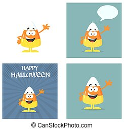 Candy Corn Flat Design. Collection