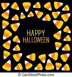 Candy corn frame. Happy Halloween card. Flat design.