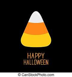 Candy corn. Happy Halloween card. Flat design.