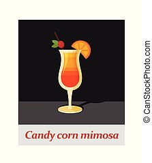 Candy corn mimosa cocktail menu item or any kind of design